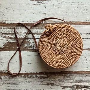NWOT woven rattan circle basket purse